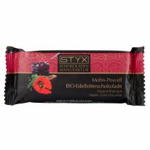 BIO-Edelbitterschokolade gefüllt mit 70% Mohn-Powidl-Ganache, alkoholhältig 70 g