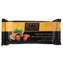 BIO-Milchschokolade gefüllt mit 70% Marzipan-Nougat-Ganache 70g