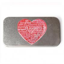 Metalletui für 70 g Schokolade - Herz/Danke